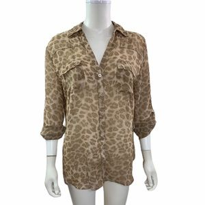 New York And Company Leopard Button Down Blouse